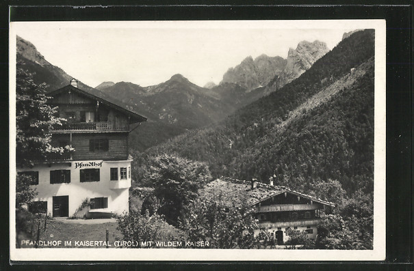 AK Pfandlhof im Kaisertal, Ansicht mit dem Wilden Kaiser