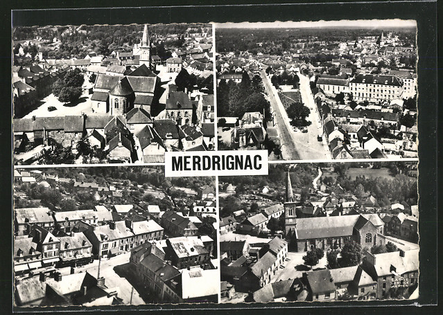 AK Merdrignac, L'Eglise et la place de la Madeleine, La Place du Monument et la Communaute, La Place du Centre, L'Eglise