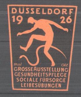 Präge-Reklamemarke Düsseldorf, Grosse Ausstellung für Gesundheitspflege und Leibesübungen 1926, Mann & Schlange