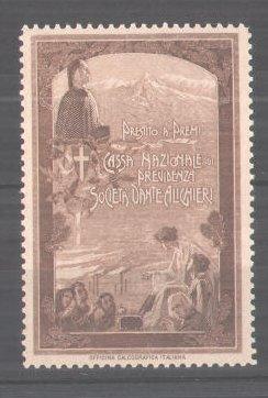 Reklamemarke Cassa Nazionale di Previdenza Societa Dante Alighieri, Dante Alighieri-Porträt und Gebirge