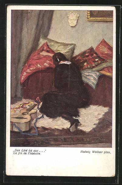 Künstler-AK Hedwig Wollner: Frau in schwarzem Kleid mit Gitarre