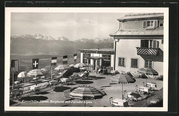 AK Kanzelhöhe, Terrasse am Berghtel mit Julische Alpen