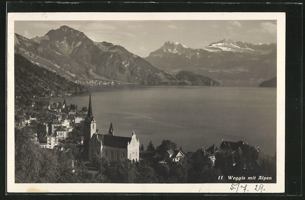 AK Weggis, Ortsansicht mit den Alpen