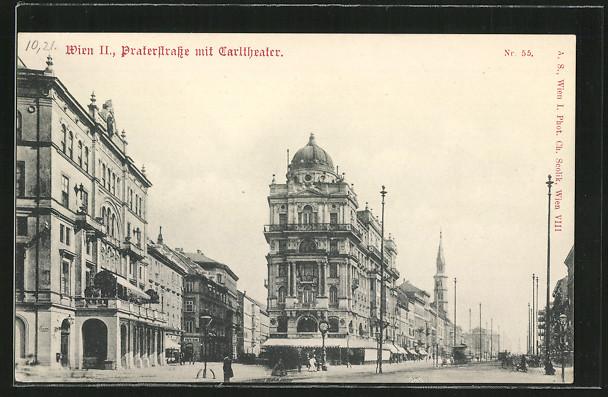 AK Wien, Praterstrasse mit Carltheater