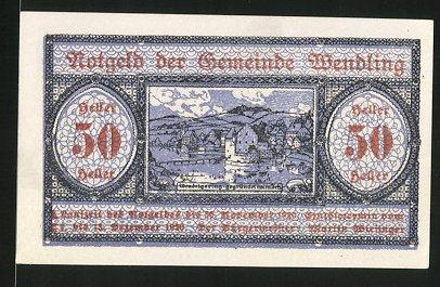 Notgeld Wendling, 1920, 50 Heller, Blick auf Wendelgering
