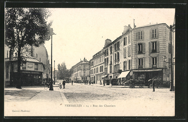 AK Versailles, Rue des Chantiers mit Maison Berset