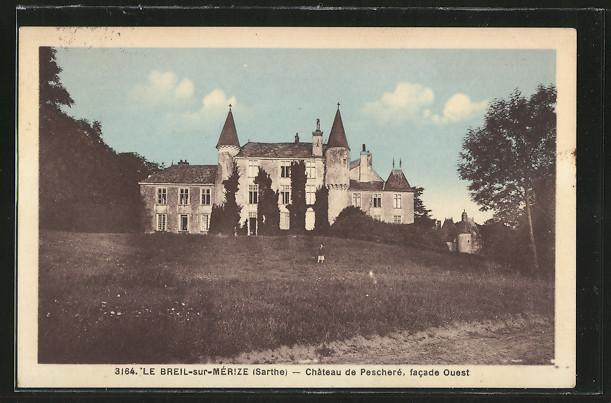 AK Le Breil-sur-Merize, Chateau de Pescheré, facade Ouest
