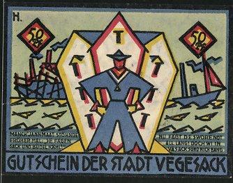 Notgeld Vegesack 1921, 50 Pfennig, Seemann mit Schiffen, Wappen
