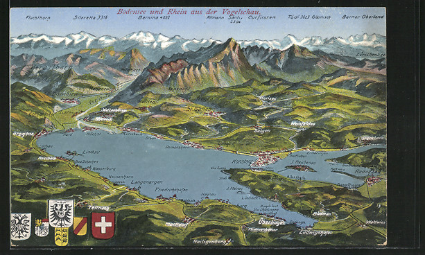 Ak konstanz ortschaft am bodensee und umgebung landkarte for Bodensee karte
