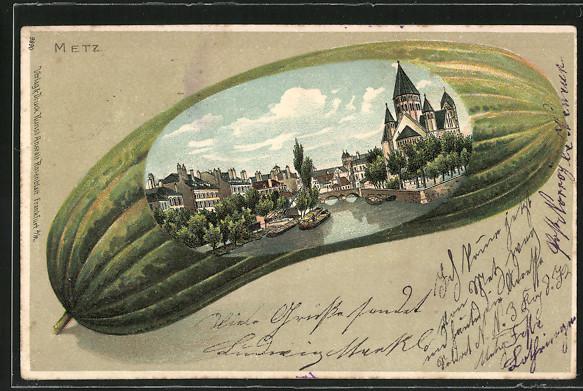 Passepartout-Lithographie Metz, Teilansicht mit Schiffen auf einer Gurke