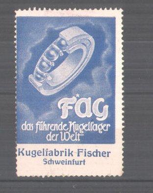 Reklamemarke Kugelfabrik Fischer Schweinfurt, Kugellager, blau