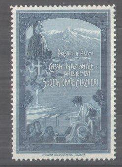 Reklamemarke Prestito a Premi, Cassa Nazionale di Previdenza Societa Dante Alighieri, Dante Alighieri-Porträt und Wappen