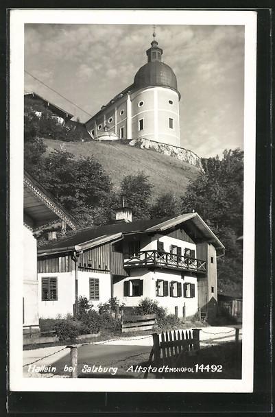 AK Hallein, Ortspartie mit Kirche