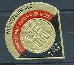 Präge-Reklamemarke Frankfurt an der Messe, Internationale Frankfurter Messe 1953, Messelogo