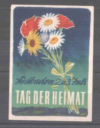 Reklamemarke Tag der Heimat in Südbaden am 2 und 3 Juli, Blumenstrauss