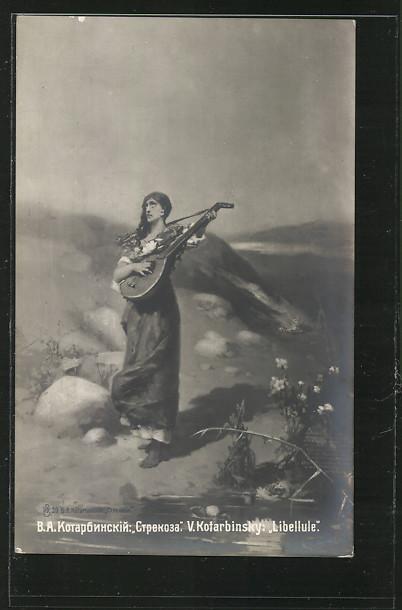 AK Junge Frau spielt an einem Fluss auf ihrer Gitarre ein Lied