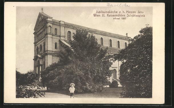 AK Wien-Kaisermühlen, Jubiläumskirche z. h. Herzen Jesu am Schüttauplatz