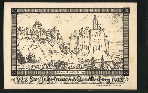 Künstler-AK Quedlinburg, Das alte Quedlinburg, Tausend Jahre Quedlinburg 922-1922
