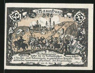 Notgeld Eferding 1920, 10 Heller, Schlossmotiv, Stadtwappen und Ritterheer