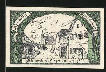 Notgeld Eferding 1920, 10 Heller, Stadtwappen, Linzer Tor um 1800