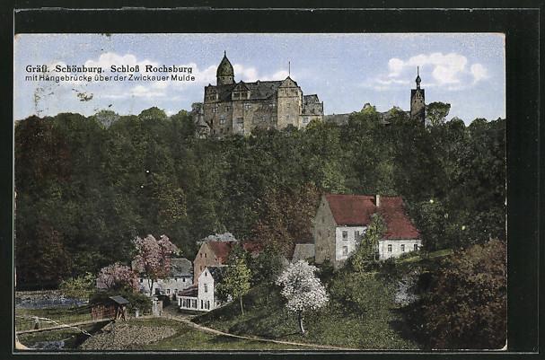 AK Rochsburg, Schloss Rochsburg mit Hängebrücke über der Zwickauer Mulde