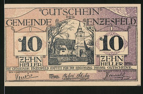 Notgeld Enzesfeld 1920, 10 Heller, Kirchenmotiv