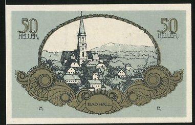 Notgeld Bad Hall in Ober-Österreich 1920, 50 Heller, Stadtwappen, Ortsansicht