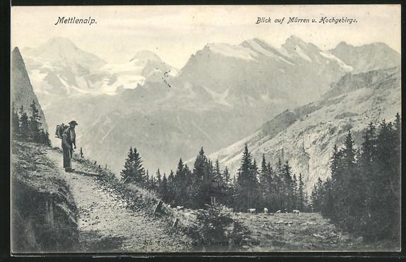 AK Mettlenalp, Blick auf Mürren und Hochgebirge
