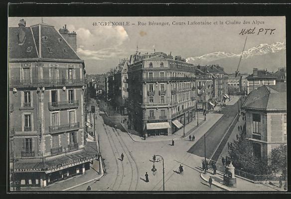 AK Grenoble, Rue Béranger, Cours Lafontaine et la Chaîne des Alpes, Café de Lascenseur