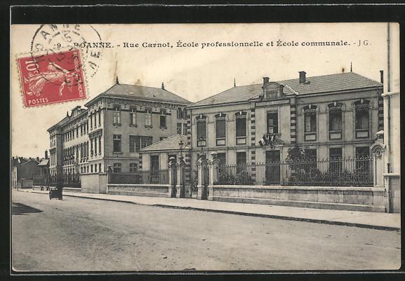 AK Roanne, Rue Carnot, Ecole professionnelle et Ecole communale
