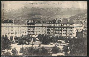 AK Grenoble, La PLace Victor Hugo et la Chaîne des Alpes