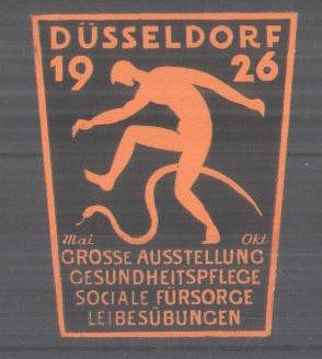 Präge-Reklamemarke Düsseldorf, Grosse Ausstellung für Gesundheitspflege und Leibesübungen 1926, Messelogo, orange