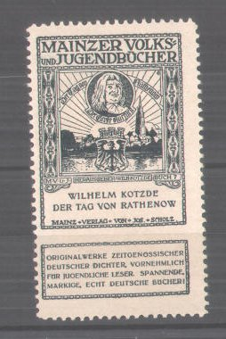Reklamemarke Volks-und Jugendbücher vom Scholz-Verlag, Mainz, Wilhelm Kotzde: Der Tag von Rathenow