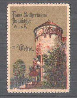 Reklamemarke Weine der Firma Kathreiners GmbH, Mann mit Weinflaschen
