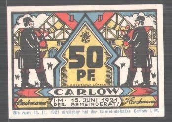 Notgeld Carlow 1921, 50 Pfennig, Männer blasen das Horn, Stadtwappen