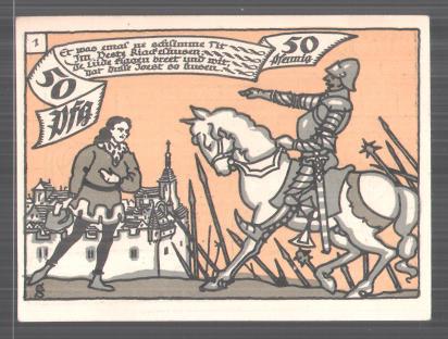 Notgeld Herne in Westfalen 1921, 50 Pfennig, Ritter vor Schlosstor, Heerführer fordert die Übergabe der Stadt