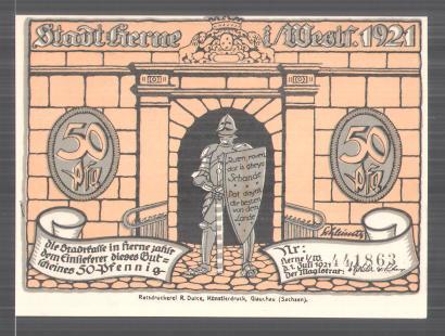 Notgeld Herne in Westfalen 1921, 50 Pfennig, Ritter vor Stadttor, Heerführer fordert die Kapitulation der Stadt
