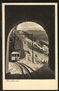 AK Wendelstein, Wendelsteinbahn im Winter vom Tunnel aus gesehen