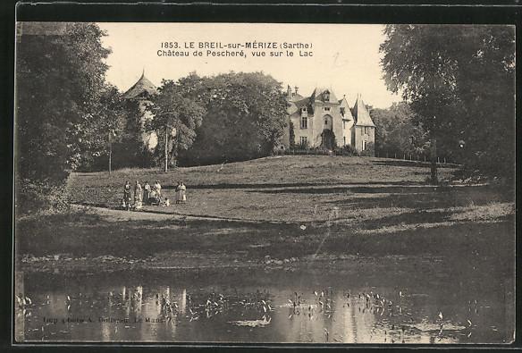 AK Le Breil-sur-Mérize, Château de Pescheré, vue sur le Lac