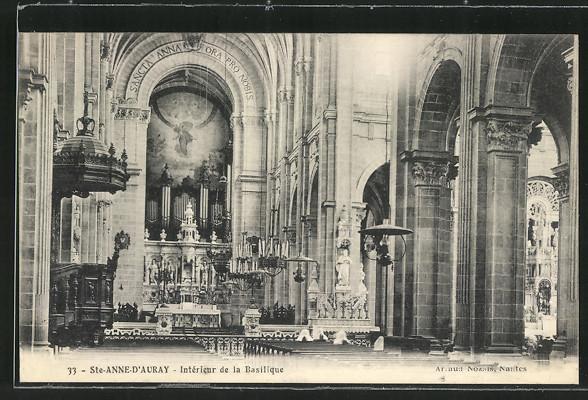 AK Ste-Anne-d'Auray, Interieur de la Basilique, Basilika mit Orgel