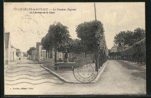 AK Villeneuve-la-Guyard, La Fontaine Regnoul et l'Avenue de la Gare
