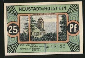 Notgeld Neustadt in Holstein 1921, 25 Pfennig, Leuchtturm Pelzerhaken, Schleswig-Holstein wird verspeist