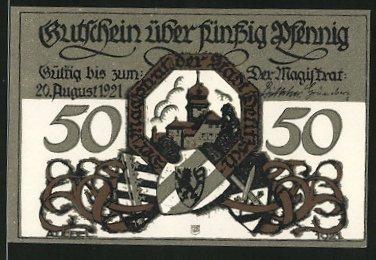 Notgeld Delitzsch 1921, 50 Pfennig, Schloss und Stadtwappen, Mädchen bläst ins Horn