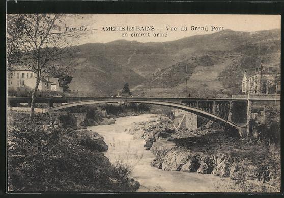 AK Amélie-les-Bains, Vue du Grand Pont en ciment armé