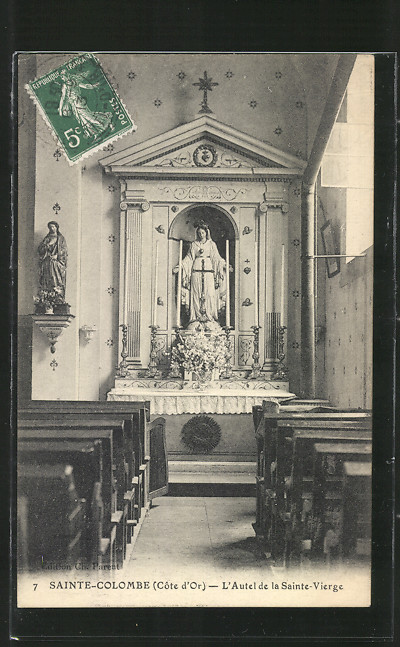 AK Sainte-Colombe, L'Autel de la Sainte-Vierge, vue intérieure