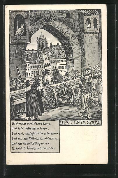 AK Ulm, Der Ulmer Spatz, Gedicht, Männer stehen mit einem Pferdefuhrwerk vor einem Stadttor