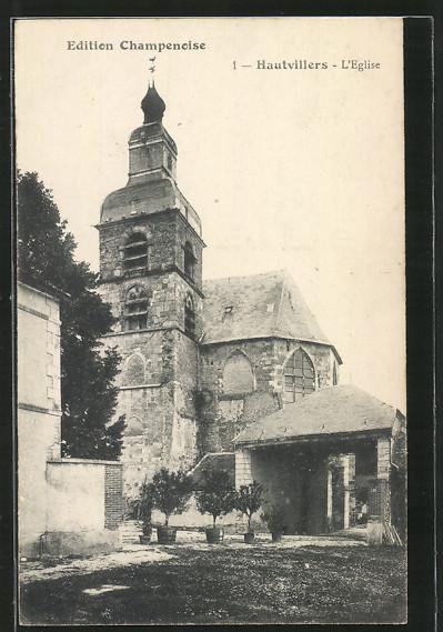 AK Hautvillers, L'Église, vue extérieure