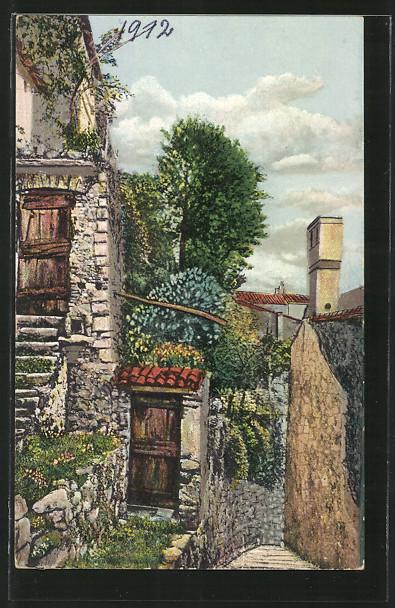 AK Gandria, Ortspartie mit Bäumen und Holztüren