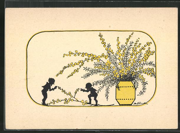 Künstler-AK Elsbeth Forck: Zwerge neben Vase mit Weidenkätzchen