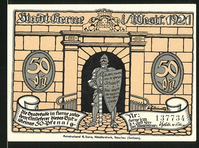Notgeld Herne in Westfalen 1921, 50 Pfennig, Ritter vor dem Stadttore, Heerführer fordert die Übergabe der Stadt